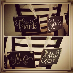Thank You and Mr. and Mrs. wedding chair signs